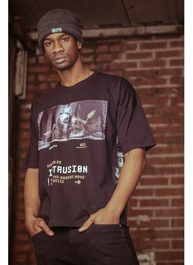 XHAN Siyah Önü & Arkası Baskılı T-Shirt 1Kxe1-44597-02 Siyah